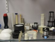 A display of products made with engineered resins.