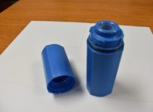 A Blue Custom Injection Molded Medical Part.